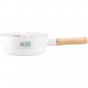 SDS-COM 18Cm Enamel Tile Flat Pot Enamel Single Handle Soup Pot Milk Pan