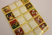 MHA UK branded Retail display set of 12 boxes x 60 Christmas sticker tags assorted designs