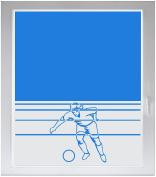 INDIGOS UG Sichtschutzfolie Glasdekorfolie Fensterfolie mit Motiv satiniert blickdicht - w755 Fußballer - individuelle Länge in 10 cm Schritten - Streifen