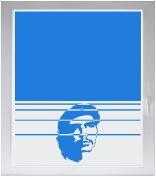 INDIGOS UG Sichtschutzfolie Glasdekorfolie Fensterfolie mit Motiv satiniert blickdicht - w025 Che Guevara - individuelle Länge in 10 cm Schritten - Streifen