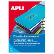 APLI Polyester-Etiketten, transparent, für Laser und Kopierer Etikett A4 perm.transparent 20St F.LASERDRUCKER+FARBKOPIER
