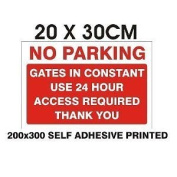 24HR ACCESS GATES NO PARKING SIGN! NEW! A4!SELF ADHESIVE VINYL