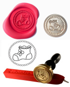 Wax Stamp, BABIES BOOTIES New Baby Boy Girl Coin Seal and Red Wax Stick XWSC019-KIT