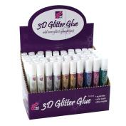 Glitz it 60-Piece 3D-Glitter Glue Pen Dispenser, Assorted Colours