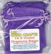 10 x Violet Organza Bags - 10cm x 8cm - Weddings, Parties