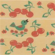 light orange with bird flower Washi Masking Tape deco tape
