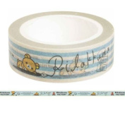 cute Rilakkuma bear blue off-white stripe deco tape by San-X