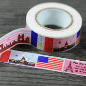 Angel Malone 1 x Large 10M Roll (#04-Graphic) Paris Eiffel Tower Japanese Paper Washi Tape Deco Masking Tape. Great for all your Crafts