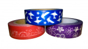 Garden Washi Trio – Red Floral, Purple Floral & Blue Birds – 15mm x 10 metres