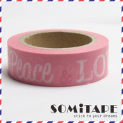 Peace And Love Pink Washi Tape, Craft Decorative Tape