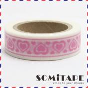 Pink Hearts Washi Tape, Craft Decorative Tape