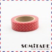 Red Thin Zigzag Washi Tape, Craft Decorative Tape