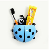 Ladybug Toothbrush Wall Suction Bathroom Sets Cartoon Sucker Toothbrush Holder Blue Color