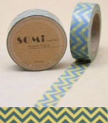 Paper Washi Tape Blue Yellow Zig Zag Design 10m x 1.5 cm