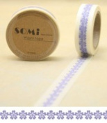 Paper Washi Tape Purple Flowers Design 10m x 1.5 cm