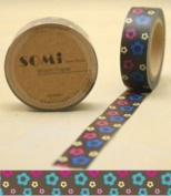 Washi Tape Pop flowers on brown 10m x 1.5 cm