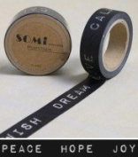 Washi Tape Black White Peace Hope Joy Writing Design 10m x 1.5 cm