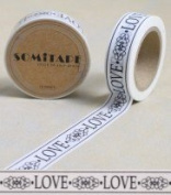 Washi Tape Black White Love Scroll 10m x 1.5 cm