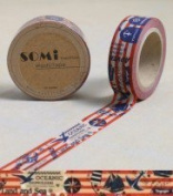 Washi Tape Red White Blue Land Sea Sailing 10m x 1.5 cm