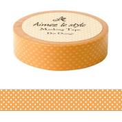 Spots dots ornage white Aimez le style Japanese Washi Tape 15mm x 12 m