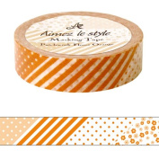 Flower patchwork Orange Aimez le style Japanese Washi Tape 15mm x 12 m