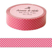 Pink white dots spots Aimez le style Japanese Washi Tape 15mm x 12 m