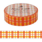 Tartan Orange Aimez le style Japanese Washi Tape 15mm x 12 m