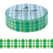 Tartan Green Aimez le style Japanese Washi Tape 15mm x 12 m