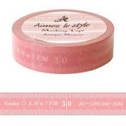 Antique Tape Measure Pink white Aimez le style Japanese Washi Tape 15mm x 12 m