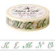 Alphabets with flowers Aimez le style Japanese Washi Tape 15mm x 12 m