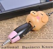 Viskey Creative Wooden Cartoon Ballpoint With a Phone Chain, Pack of 3 pcs Pigs