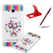 Glitter Case for Samsung Galaxy J510 2016,Crystal TPU Cover for Samsung Galaxy J510 2016,Herzzer Ultra Slim Creative [Merry Go Round Pattern] Bling Sparkly IMD Design Shock-Absorbing Soft Silicone Gel Bumper Cover Flexible TPU Transparent Skin Protecti ..