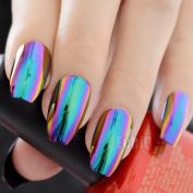 EchiQ Ballerina Coffin Nails Mirror Chrome False Nail Solid Reflection Magic Mirror Effect Green Purple Holo Fake Nails Tips