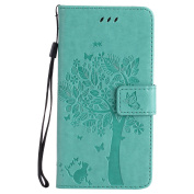 HTC One M8 Case, HTC One M8 Wallet Case, BONROY [Kickstand] Retro Flip Case, Elegant Vintage Pressed Tree Cat Butterfly Pattern Design Premium PU Leather [with Lanyard Strap/Rope] Stand Function Card Holder and ID Slot Slim Fit Protective Case Cover fo ..