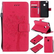 Huawei P10 lite Case, Huawei P10 lite Wallet Case, BONROY [Kickstand] Retro Flip Case, Elegant Vintage Pressed Tree Cat Butterfly Pattern Design Premium PU Leather [with Lanyard Strap/Rope] Stand Function Card Holder and ID Slot Slim Fit Protective Cas ..
