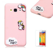 For Samsung J3(2016 Model)/J310 Soft Silicone Gel TPU Cover, Funyye Ultra Thin Slim Lightweight Matte Trendy Cute Candy Colour [Pink] Sweet Lovely Back Bumper Rubber Shockproof Non slip Protective Case for Samsung J3(2016 Model)/J310 - Rainbow Horse