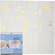 Watercolour Paper Pad with Printed Designs, size 30,5x305cm, white, 12sheets