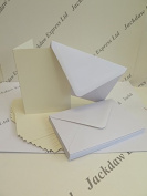 20 Cream Blank Single Fold A6 300gsm Greeting Cards c/w Gummed White Envs AM846