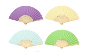 (Pack of 4)Assorted 4 Colour Hand Folding Paper Fans for DIY Craft Wedding Birthday Party Decoration