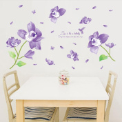 "Wall Sticker, Chshe Butterfly Orchid ""Love is like a butterfly"" DIY Removable Wall Decal Family Home Sticker Mural Art Home Decor for Living Room Bedroom TV Background Wall"