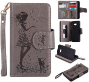 BONROY® Magnetic Flip Cover for Samsung Galaxy A5 2017,Woman and cat theme series Embossing Wallet Case with Hand Strap for Samsung Galaxy A5 2017, Premium PU Leather Folio Style Retro PU Leather Wallet Flip with Card Slots and and Stand Function Case ..