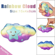 Toamen Rainbow Cloud Squishy Super Jumbo Scented Slow Rising Rare Fun Toy for Stress Relief and Time Killing, Cell Phone Pendant Strap Gift
