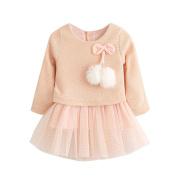 Baby Girls Dress,Newborn Baby Knitted Bow Tutu Princess Dress, Longra® Baby Girls Long Sleeve Dress For 0-24M