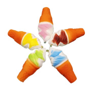 Bodhi2000 1Pc Ice Cream Cone Squishies Toy Slow Rising Relieves Stress Soft Toy Phone Hanging Decor for Children and Adult Toy Gift, Random Colour