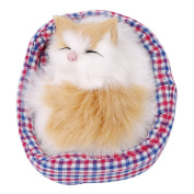 Chinget Cute Simulation Sleeping Cat Toy with Sound Kids Christmas Gift Table Decoration