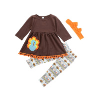 SO-buts Thanksgiving Toddler Kids Baby Girl Outfits Clothes Dress Tops+Pants Outfit Set