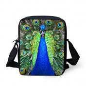 HUGSIDEA Peacock Printed Women's Mini Cross Body Bags Shoulder Handbag Cell phone Pouch Purse for Travel