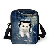 HUGSIDEA White Cat Pattern Women Mini Crossbody Bags Denim Ble Single Shoulder Bag Handbags
