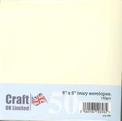 Card Craft 50 6 x 6 Plain Ivory Envelopes