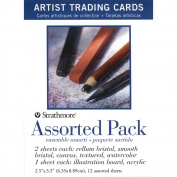 Strathmore Paper Artist Trading Cards, Assortment Pack, 12 Sheets, Natural White